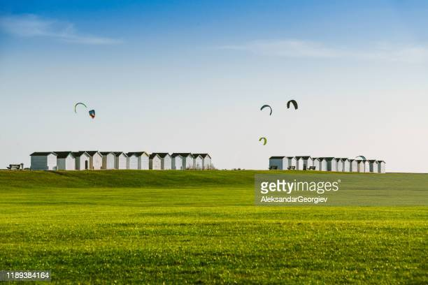 the paragliders of worting, uk - west sussex stock pictures, royalty-free photos & images