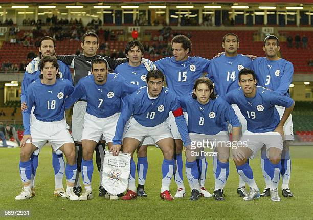 The Paraguay team before the Friendly Match between Wales and Paraguay at the Millennium Stadium on March 1 2006 in Cardiff Wales