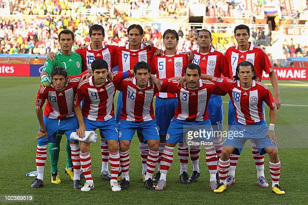 The Paraguay team line up ahead of the 2010 FIFA World Cup South Africa Group F match between Paraguay and New Zealand at Peter Mokaba Stadium on...