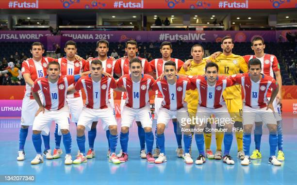 The Paraguay team line up prior to the FIFA Futsal World Cup 2021 Round of 16 match between Argentina and Paraguay at Vilnius Arena on September 23,...