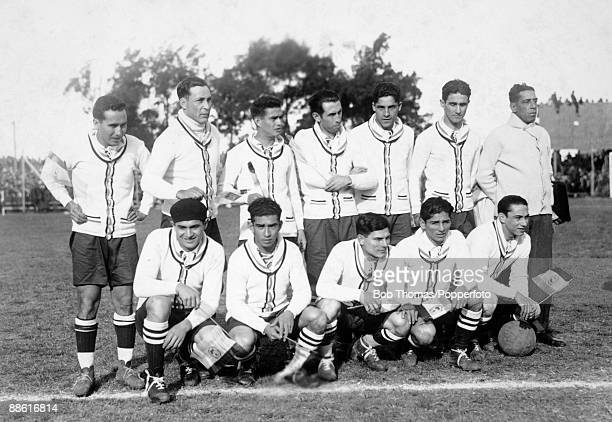 The Paraguay team prior to their FIFA World Cup match against the United States of America at the Parque Central in Montevideo 17th July 1930 USA won...