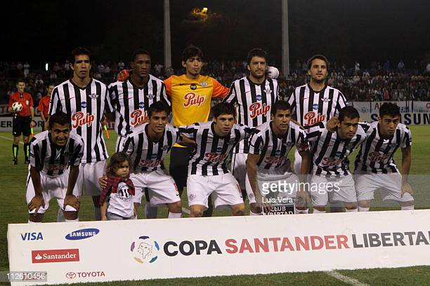The Paraguayan Libertad team poses for a portrait before the match against Mexican San Luis for the 2011 Santander Libertadores Cup at Nicolas Leoz...