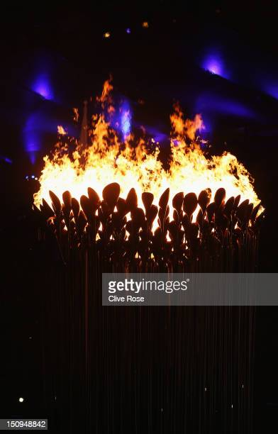 The Paralympic Cauldron burns during the Opening Ceremony of the London 2012 Paralympics at the Olympic Stadium on August 29 2012 in London England