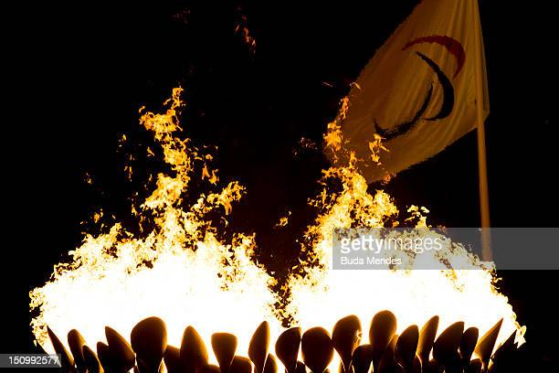 The Paralympic cauldron is lit during the Opening Ceremony of the London 2012 Paralympic Games at the Olympic Stadium on August 29, 2012 in London,...