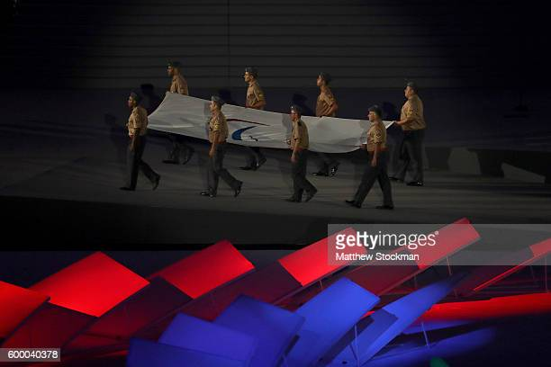 The Paralympic flag enters the stadium during the Opening Ceremony of the Rio 2016 Paralympic Games at Maracana Stadium on September 7, 2016 in Rio...