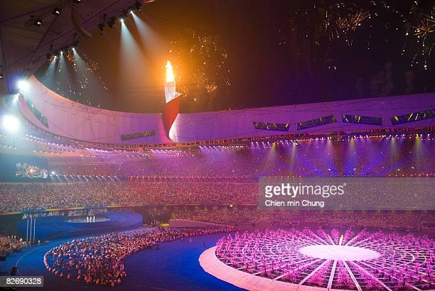 The Paralympic flame is lit at the Opening Ceremony for the 2008 Paralympic Games at the National Stadium on September 6 2008 in Beijing China