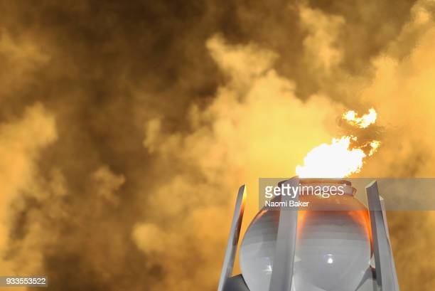 The paralympic flame is seen during the closing ceremony of the PyeongChang 2018 Paralympic Games at the PyeongChang Olympic Stadium on March 18 2018...