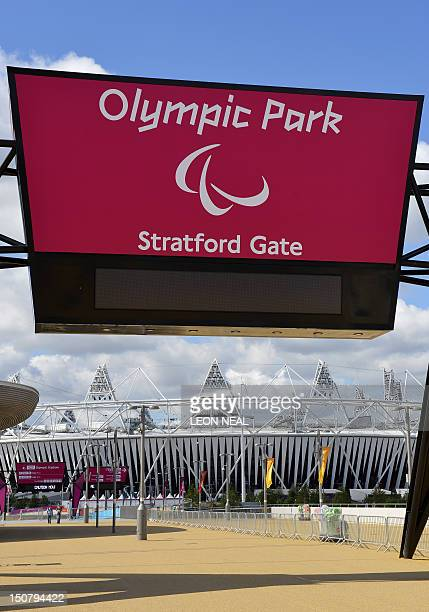 The Paralympic logo is shown above one of the entrances to the Olympic park in east London, England, on August 26, 2012. The Paralympic Games are set...