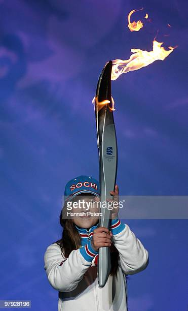 The Paralympic torch is passed onto Sochi during the Closing Ceremony on Day 10 of the 2010 Vancouver Winter Paralympics at Whistler Medals Plaza on...