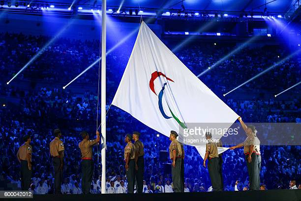 The Paralympics flag is raised during the Opening Ceremony of the Rio 2016 Paralympic Games at Maracana Stadium on September 7, 2016 in Rio de...