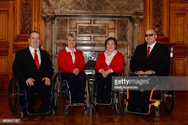 The ParalympicsGB Curling team Robert McPherson Angela Malone Skip Aileen Neilson and Gregor Ewan gather to celebrate their selection to compete at...
