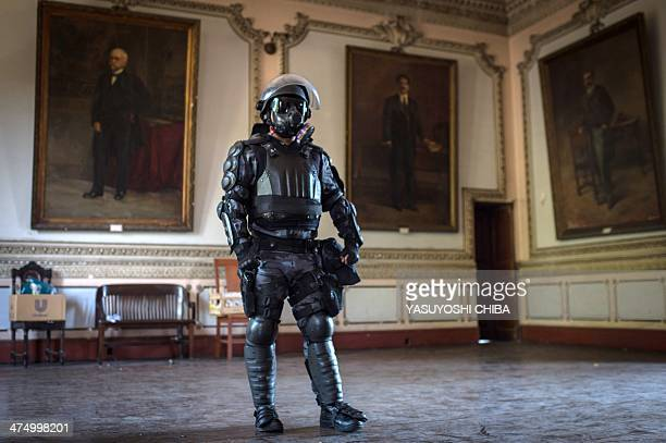 The paramilitary police riot body armour is shown to the pressat the end of a drill in coordination with the rapid deployment riot unit for major...