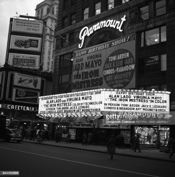 The Paramount Theatre marquee reads The Paramount is 26 years young with this great 2 for 1 show Alan Ladd and Virgnia Mayo 'The Iron Mistress' color...