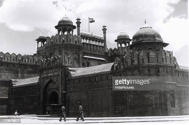 The parapet and the walls of Red fort Old Delhi India
