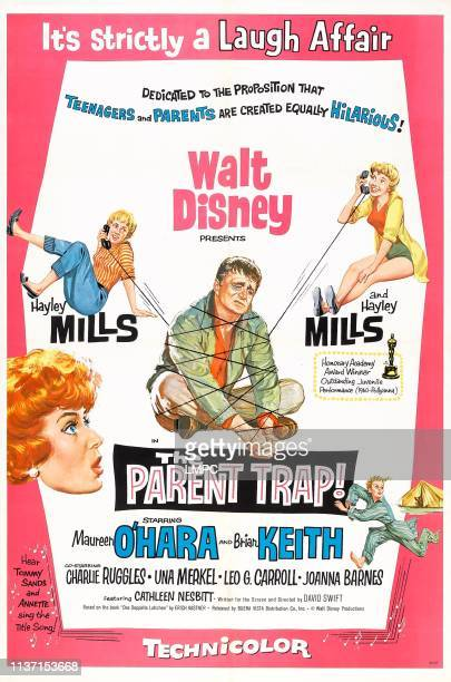 The Parent Trap poster US poster art from left Maureen O'Hara Hayley Mills Brian Keith Hayley Mills bottom right Joanna Barnes 1961