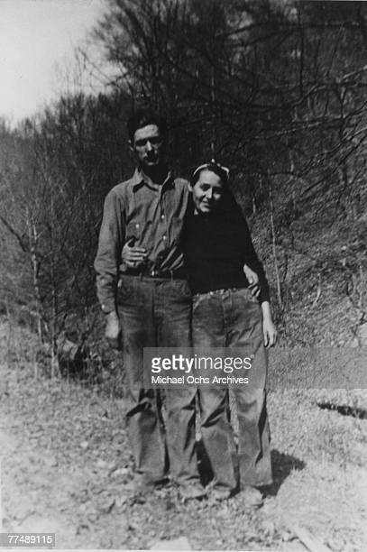 Country singer Loretta Lynn poses for a portrait witha young man in 1950 in Butcher Holler Kentucky