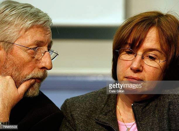 The parents of Amelie Delagrange JeanFrancois and Dominique speak to the press at Snow Hill Police Station on February 25 2008 in London England...