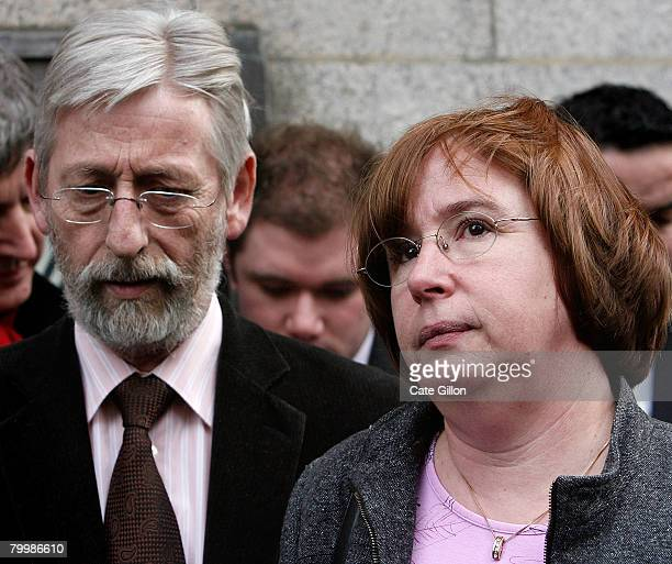 The parents of Amelie Delagrange JeanFrancois and Dominique speak to the press outside the Old Bailey on February 25 2008 in London England Former...