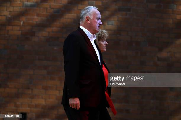 The parents of Grace Millane David and Gillian Millane arrive at the Auckland High Court on November 07 2019 in Auckland New Zealand A 27 year old...
