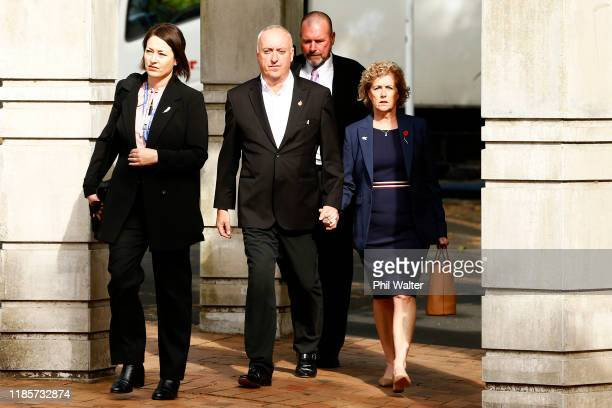 The parents of Grace Millane David and Gillian Millane arrive with Detective Inspector Scott Beard at the Auckland High Court on November 06 2019 in...