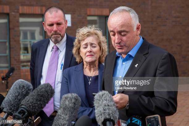 The parents of Grace Millane David and Gillian Millane speak to media outside Auckland High Court on Friday 22 November 2019 in Auckland New Zealand...