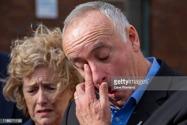 The parents of Grace Millane David and Gillian Millane speak to media outside Auckland High Court on November 22 2019 in Auckland New Zealand A 27...