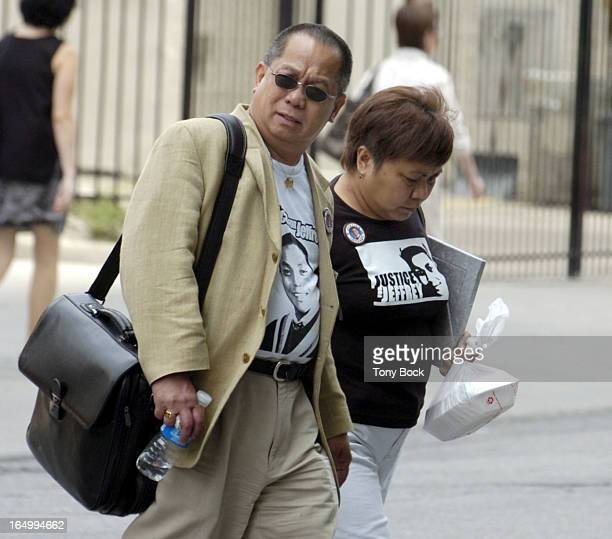 BELANGER_TB JUNE23 The parents of Jeffrey Reodica Flora and Willie arrive at the inquest into the teens death at Coroner's Court tb