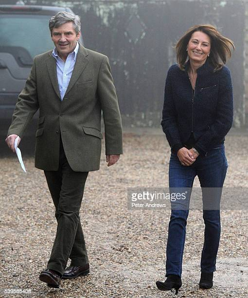 The parents of Kate Middleton Michael and Carole makes a statement on the engagement of their daughter to Prince William outside their home near the...