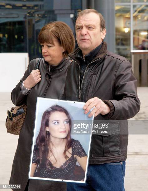 The parents of murdered British teacher Lindsay Ann Hawker from Brandon near Coventry, Bill and Julia Hawker answer questions at Heathrow's Terminal...
