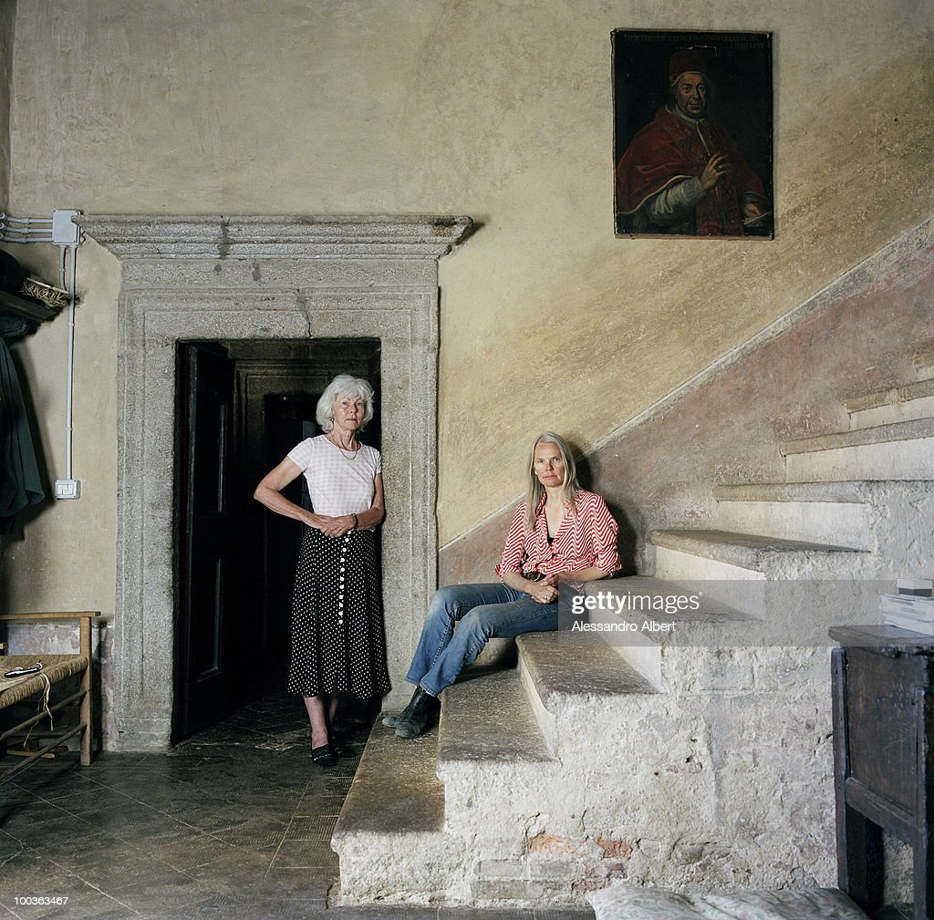 The parents of the writer Graham Greene, Charlotte Greene in red and Sally Greene in white, poses for a portraits session in the Potentino Castle on September 12, 2006 in Seggiano, Grosseto, Italy