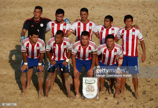 The Parguay team line up for a photo prior to kick off during the Huawei Intercontinental Beach Soccer Cup match between Mexico and Paraguay at...