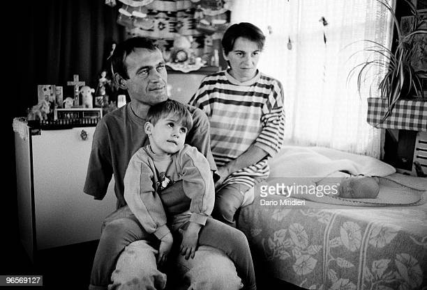 The Paric family internal refugees from Vukovar sitting in their temporary home a train car in the city of Vinkovci former Yugoslavia on November 6...