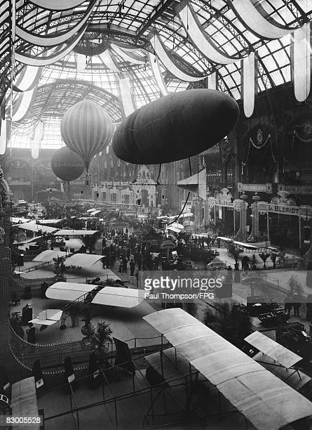The Paris Air Show (Salon International de l'Aeronautique et de l'Espace', held at the Grand Palais in Paris, circa 1909.