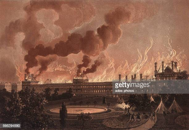 The Paris Commune of 1871. The fire of the Palais des Tuileries in Paris . On May 24, 1871. Lithography in colour by Léon Sabatier.