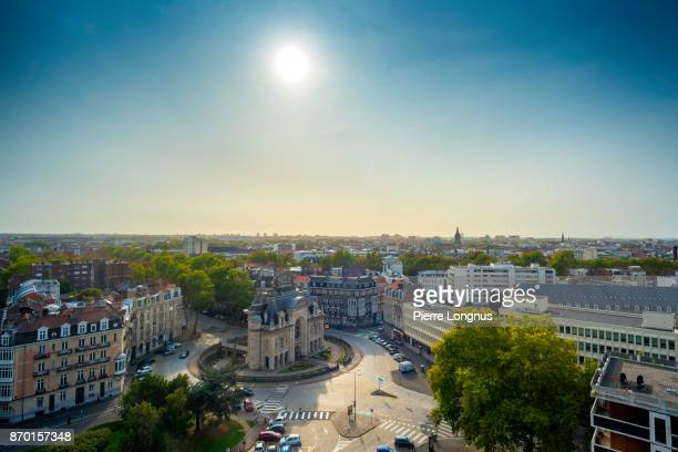 The Paris Gate Monument (Porte de Paris), view from the Belfry of Lille City Hall in october, Lille, North of France