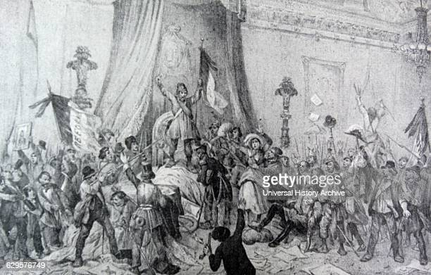 The Paris Revolution of 1848: The Mob in the Throne Room of the Tuileries. The scene of disorder and chaos after the flight of the King during the...