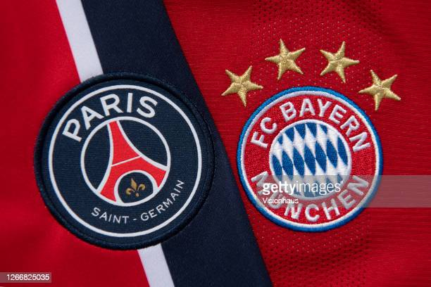The Paris Saint-Germain and FC Bayern Munich club badges on their home shirts on August 17, 2020 in Manchester, United Kingdom.