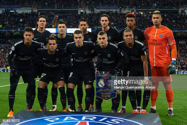 The Paris SaintGermain team line up for a photo prior to kick off during the UEFA Champions League Round of 16 First Leg match between Real Madrid...