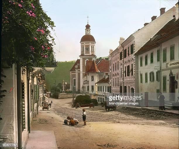 The parish church in Birkfeld Styria Handcolored lantern slide Around 1910