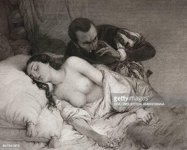 The Parisina engraving by Giuseppe Barni based on a painting by Giuseppe Bertini in Gems of Italian Art 1856