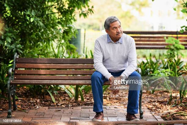 the park is where he comes to ponder a while - bench stock pictures, royalty-free photos & images