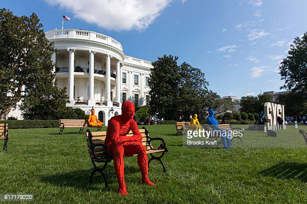 The Park People Series' by artist Nathan Sawaya on the South Lawn of the White House during the 'South By South Lawn' SXSL festival on October 3 2016...