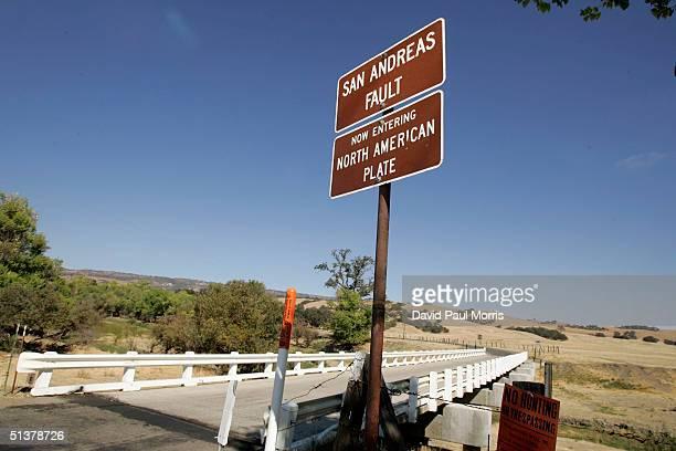The Parkfield Coalinga bridge crosses over the San Andreas fault on the Parkfield Coalinga Road on September 30, 2004 Parkfield, California. The tiny...