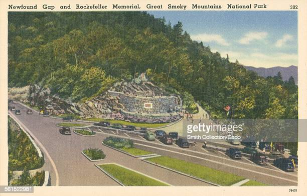 The parking area with cars for the Newfound Gap and Rockefeller Memorial in the Great Smokey Mountains National Park 1927