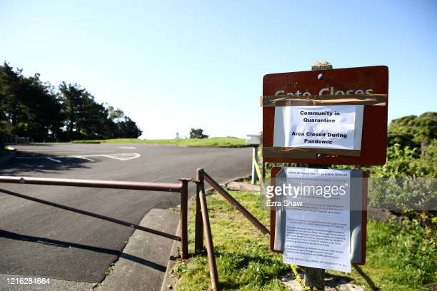 The parking lot for Muir Beach lookout is closed because of the Coronavirus on April 01 2020 in Muir Beach United States Officials in seven San...