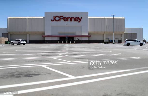 The parking lot in front of a JCPenney store at The Shops at Tanforan Mall on May 15 2020 in San Bruno California JCPenney avoided bankruptcy after...
