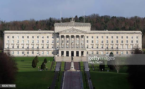 The Parliament Buildings at Stormont are pictured in Belfast on January 25 2017 Northern Ireland will hold snap elections on March 2 2017 in a bid to...