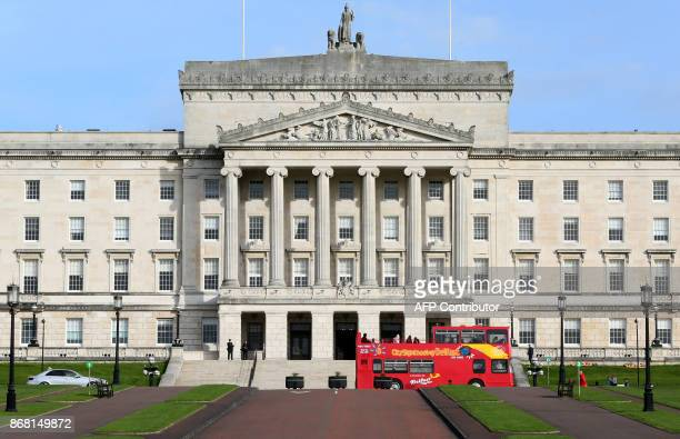 The Parliament Buildings commonly known as Stormont are pictured in Belfast on October 30 2017 The Democratic Unionist Party and Sinn Féin are...