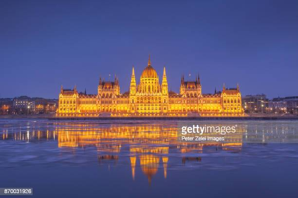 The Parliament of Hungary, Budapest in the winter night