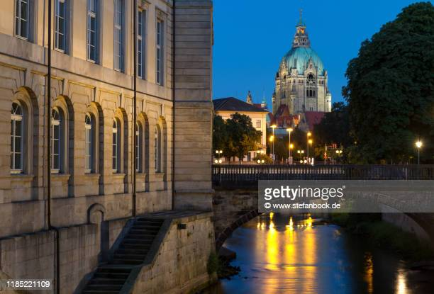 the parliament of lower saxony and the new town hall of hannover - hanover germany stock pictures, royalty-free photos & images